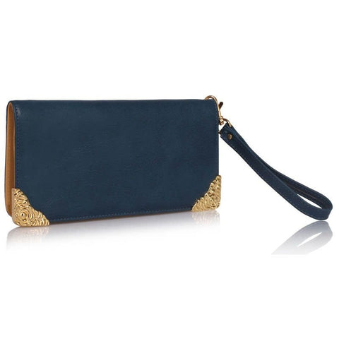 Navy Purse with Metal Decoration