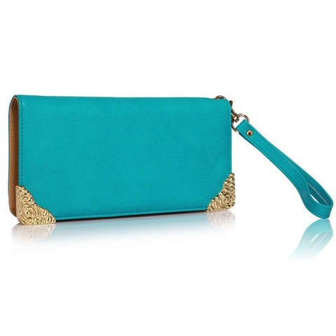 Teal Purse with Metal Decoration
