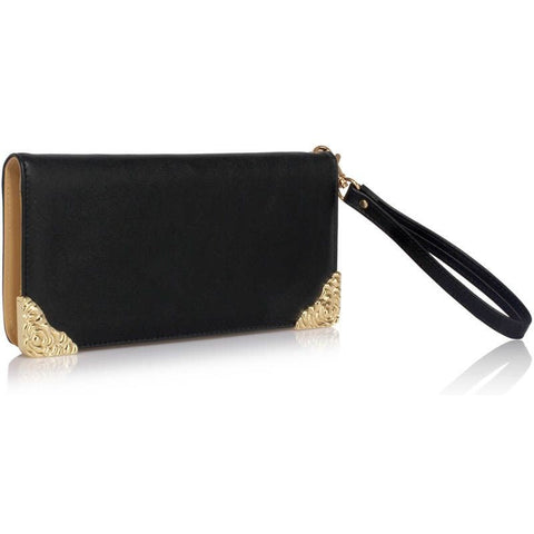Black Purse with Metal Decoration, Purses - First Impression UK