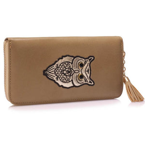 Taupe Owl Design Purse/Wallet