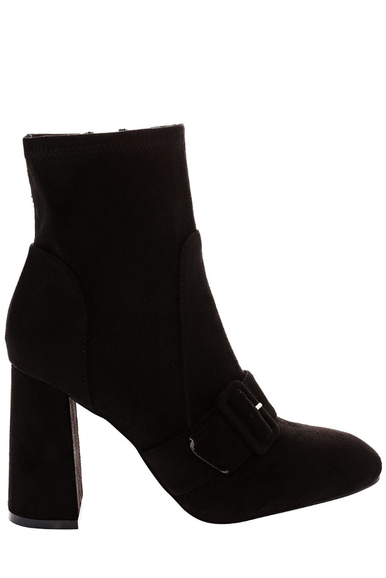 Black Faux Suede Ankle Boots With Buckle Detail, High Heels - First Impression UK