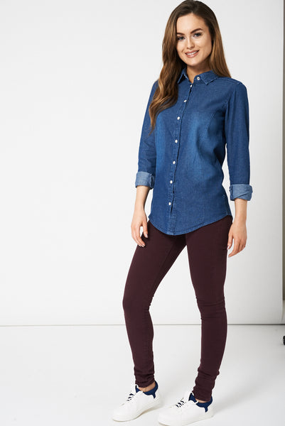 Casual Blue Denim Shirt Ex-Branded - First Impression UK