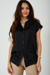 Ladies Longline Shirt in Black