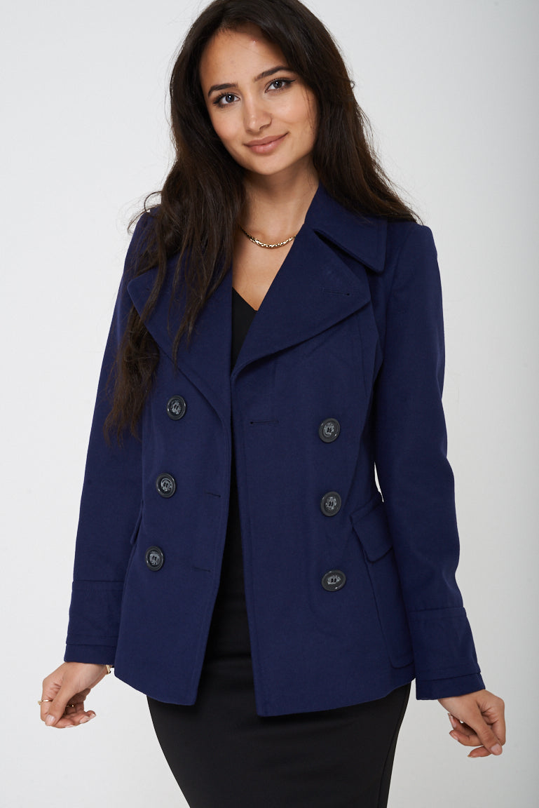Ladies Navy Double Breasted Peacoat Ex Brand