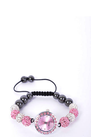 Pink And Silver Shamballa Bracelet Watch