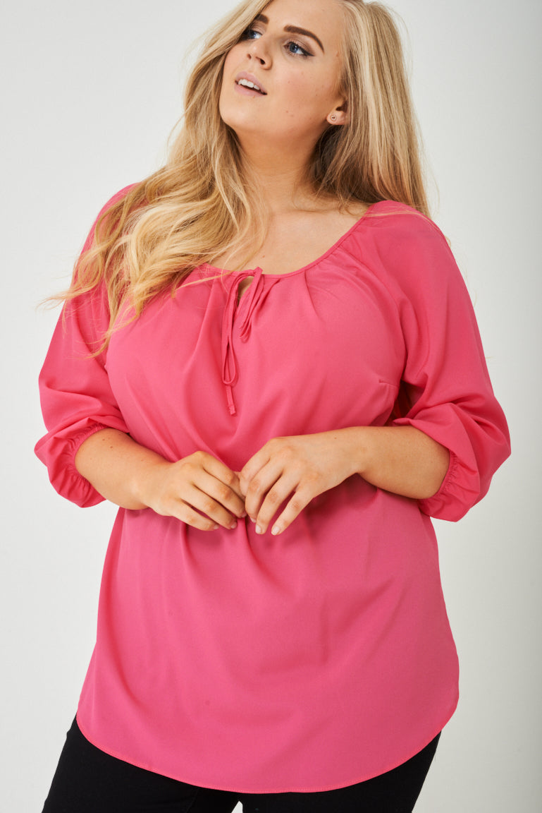 Ladies PLUS SIZE Pink Blouse with Ruched Cuffs