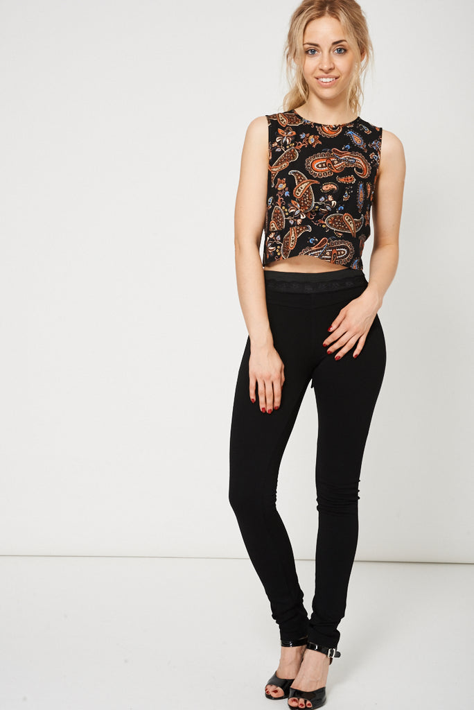 Black Skinny Trousers With Black Lace Detail - First Impression UK