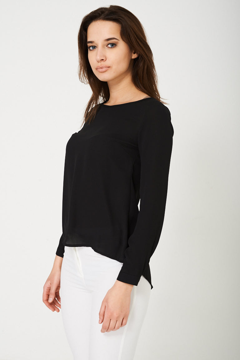 Ladies Cut Out Back Blouse in Black Ex Brand