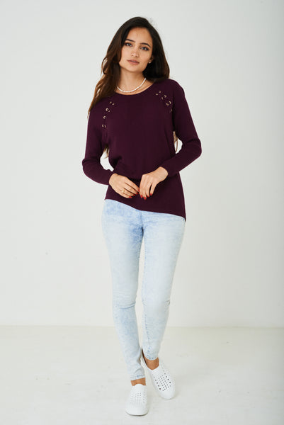 Burgundy Top with Long Sleeves Ex Brand, Tops - First Impression UK