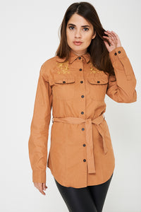 Ladies Tie Waist Shirt in Camel Ex Brand