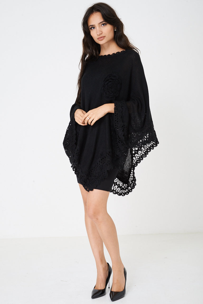 Ladies Elegant Black Poncho with Rose Detail