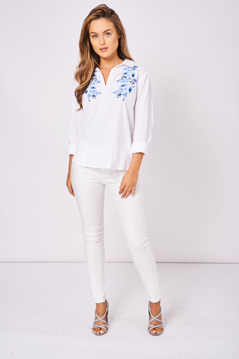 Floral Embroidered Shirt In White  Ex-Branded - First Impression UK