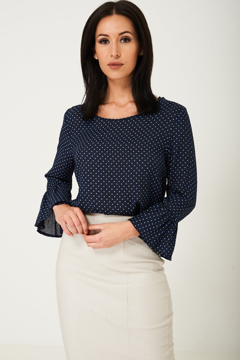 Ladies Navy Polka Dot Blouse Ex Brand