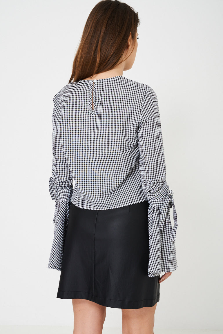 Ladies Checked Top with Embroidery Detail