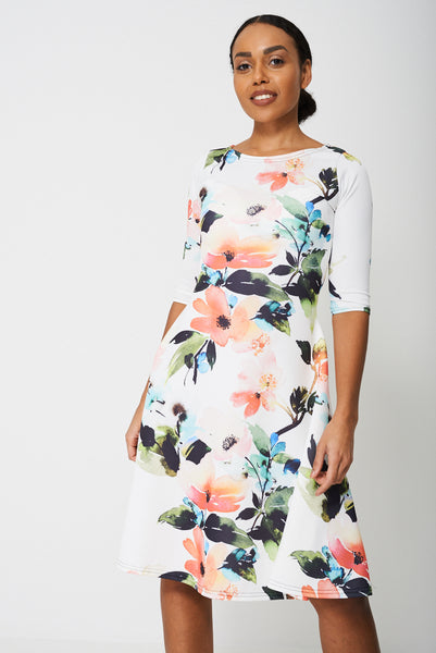 All Over Flower Print Dress - First Impression UK