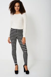 Ladies Monochrome Check Leggings