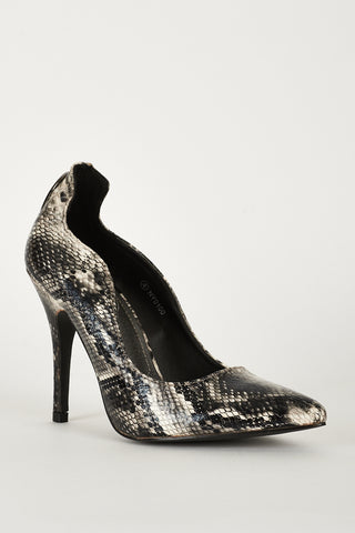 Faux Snake Skin Shoes With Cut Out Detail - First Impression UK
