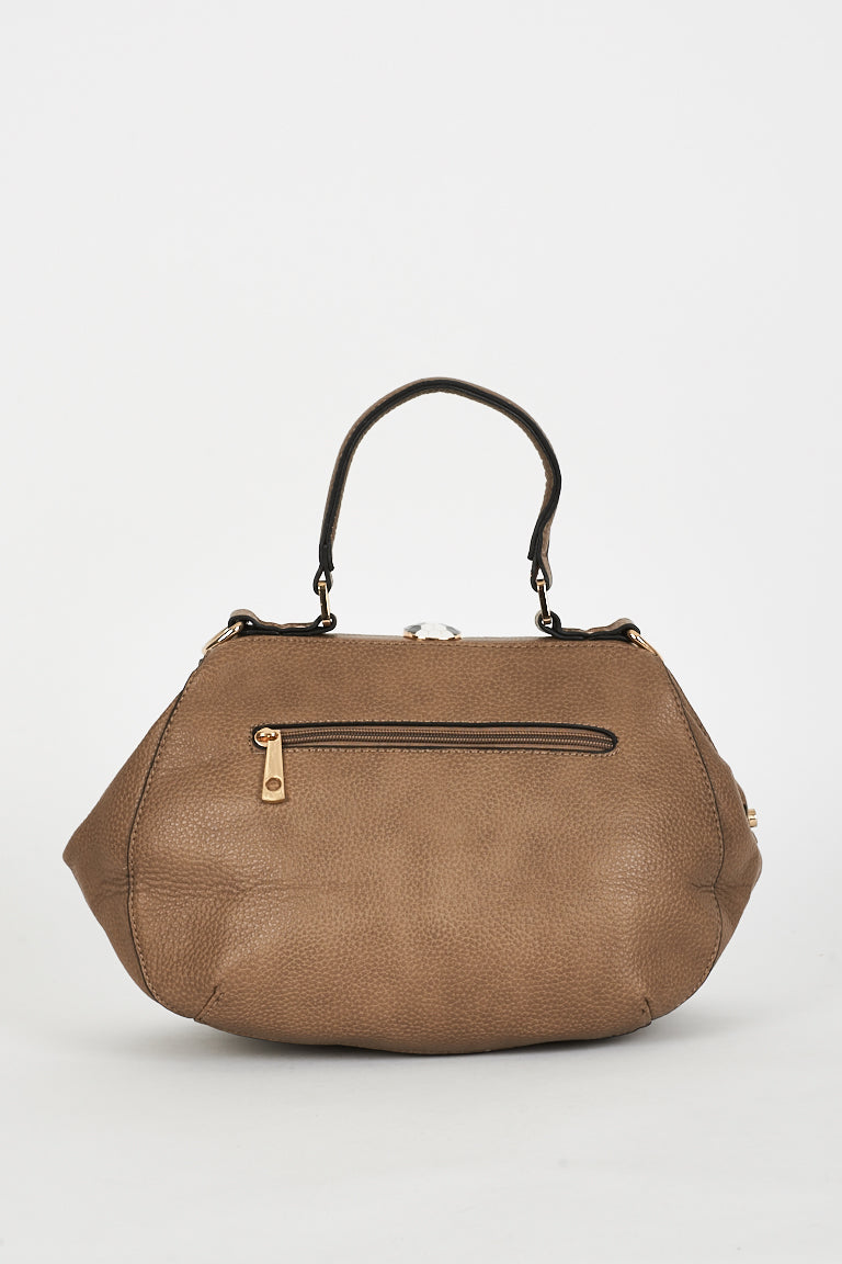 Ladies Textured Taupe Bag With Clasp Detail
