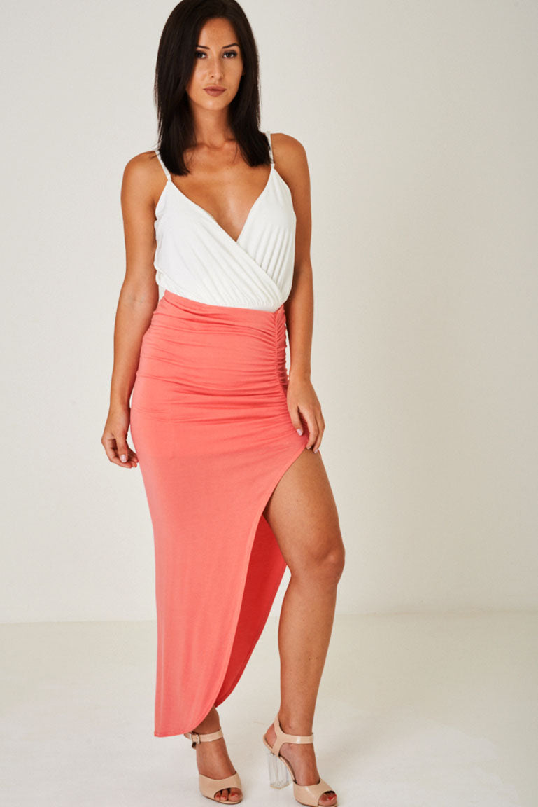 High Slit Maxi Skirt in Pink