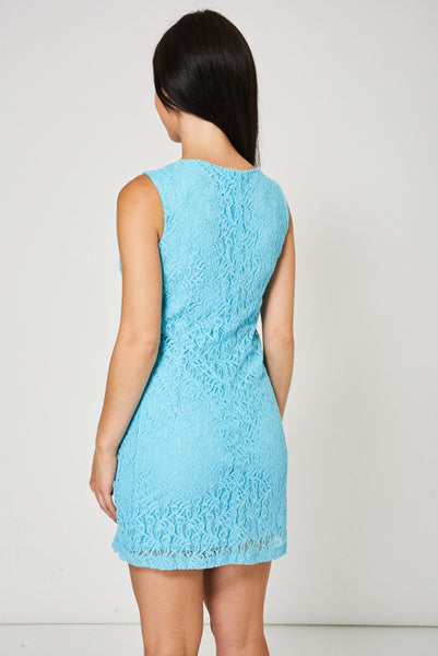 Blue Lace Mini Dress, Dresses - First Impression UK