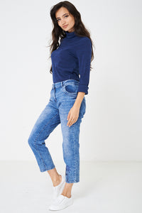 Blue Cropped Jeans with Sequin Detail, Jeans & Trousers - First Impression UK