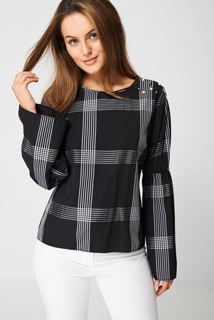 Bell Sleeve Top With Pearl Detail Ex-Branded, Tops - First Impression UK