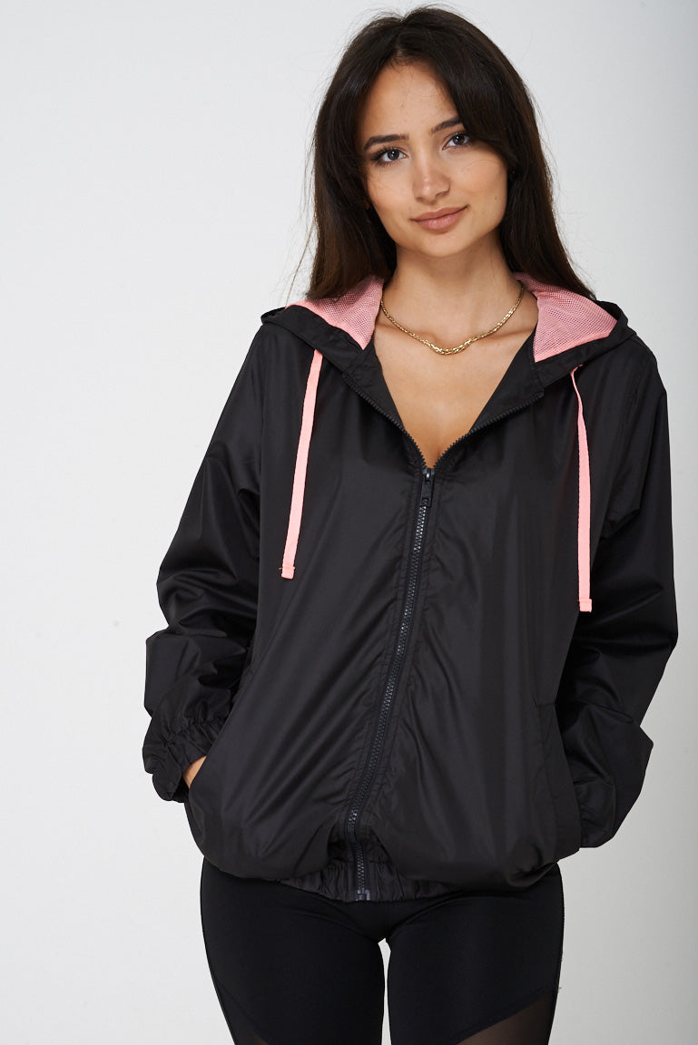 Black Windbreaker Jacket with Hoodie, Jackets & Coats - First Impression UK