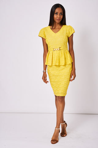 Yellow Patterned Skirt And Top Set Available In Plus Sizes - First Impression UK