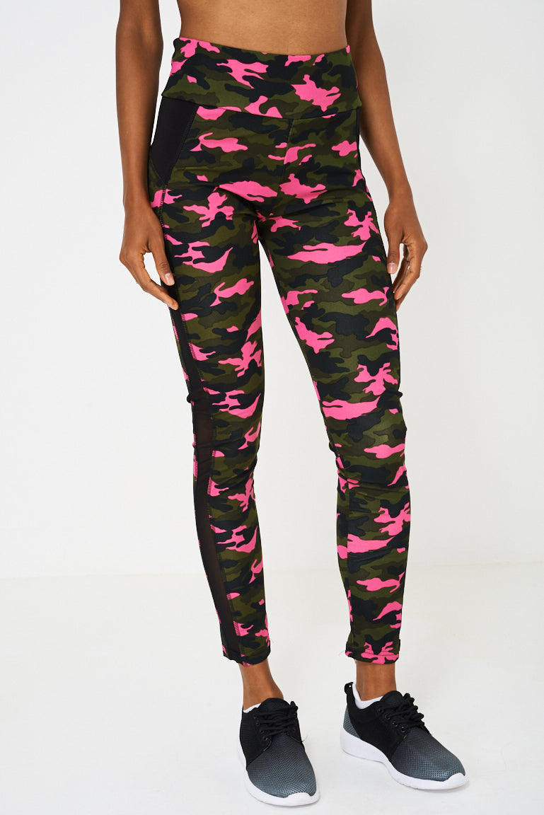 Camo Print Sports Tank Top And Leggings Set, Tops - First Impression UK