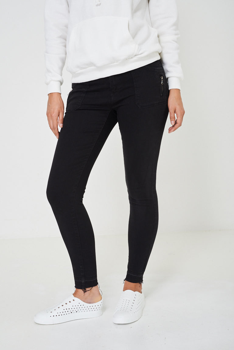 Black Jeans with Raw Hem Ex Brand, Jeans & Trousers - First Impression UK