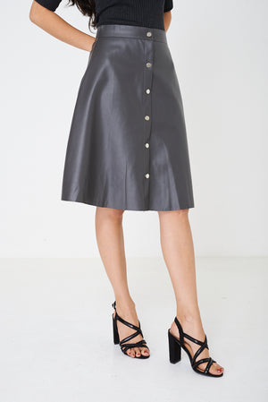 Ladies Faux Leather Skirt in Grey