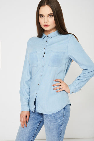 Light Blue Denim Shirt Available In Plus Sizes