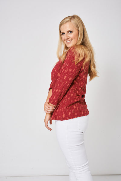 Burgundy Pleat Front Top Ex-Branded, Tops - First Impression UK
