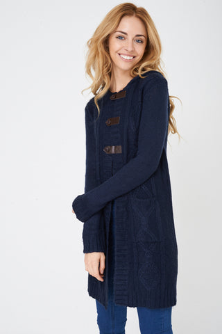 Ladies Navy Hooded Cable Knit Cardigan