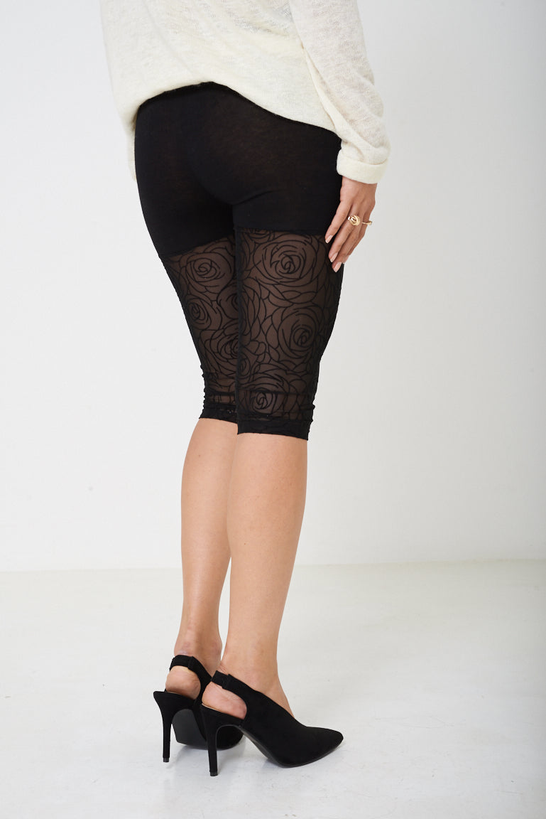 Ladies Black Lace Cycling Shorts