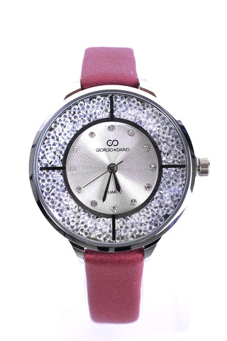 Diamante Embellished Thin Strap Watch In Wine Red