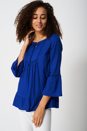 Bell Sleeve Blouse With Front Smocking Detail, Tops - First Impression UK