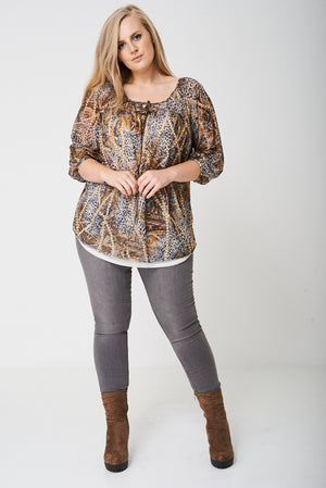 PLUS Ruched Sleeve Top in Animal Print - First Impression UK