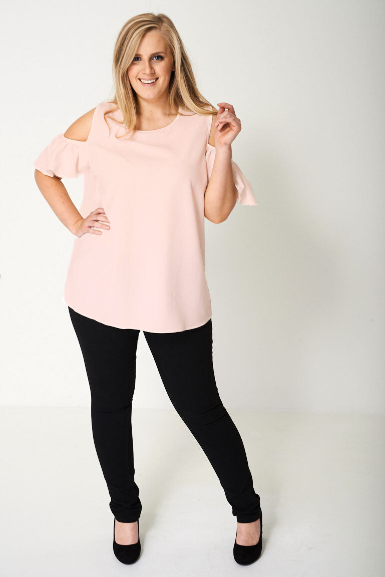 Ladies Cold Shoulder Top in Pink
