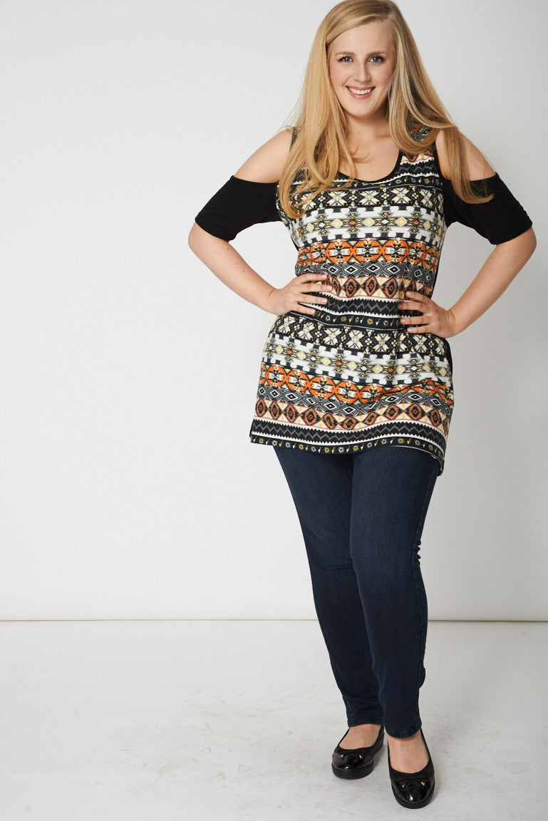 Cold Shoulder Abstract Print Top - First Impression UK
