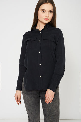 Roll Up Sleeve Black Shirt Ex-Branded Available In Plus Sizes