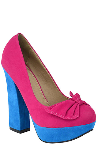 Faux Suede Court Shoe With Bow - First Impression UK