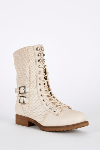 Beige Lace Up Mid Calf Combat Boots, Boots - First Impression UK