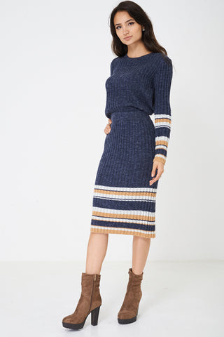 Mix and Match Blue Skirt in Rib Knit