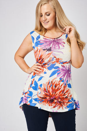Floral Pattern Dipped Hem Top - First Impression UK