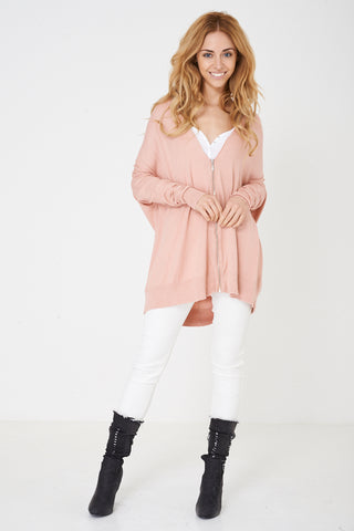 Ladies Zip Through Knitted Pink Cardigan