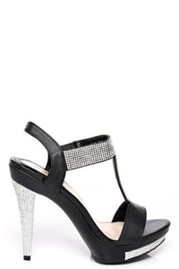 Black Embellished Heeled Sandals, High Heels - First Impression UK