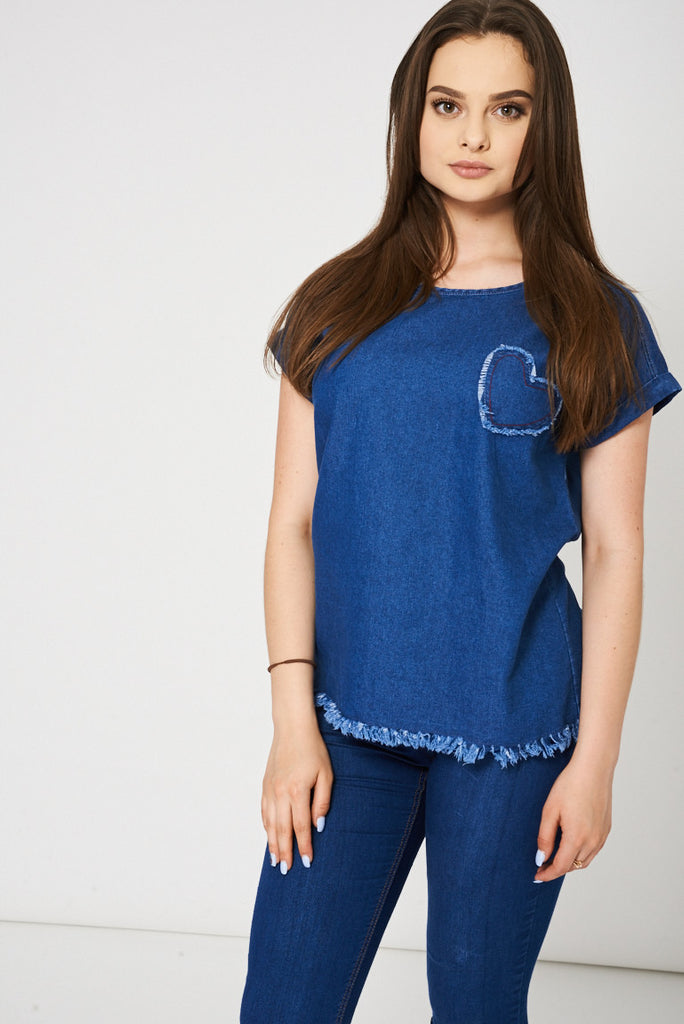 Blue Denim Top With Heart Detail Ex-Branded - First Impression UK