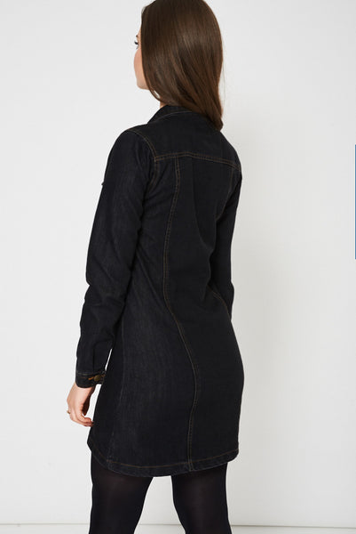 Black Denim Shirt Dress Ex-Branded, Dresses - First Impression UK