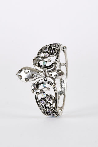 Fleur de Lis Diamante Hinged Bangle Limited Stock - First Impression UK